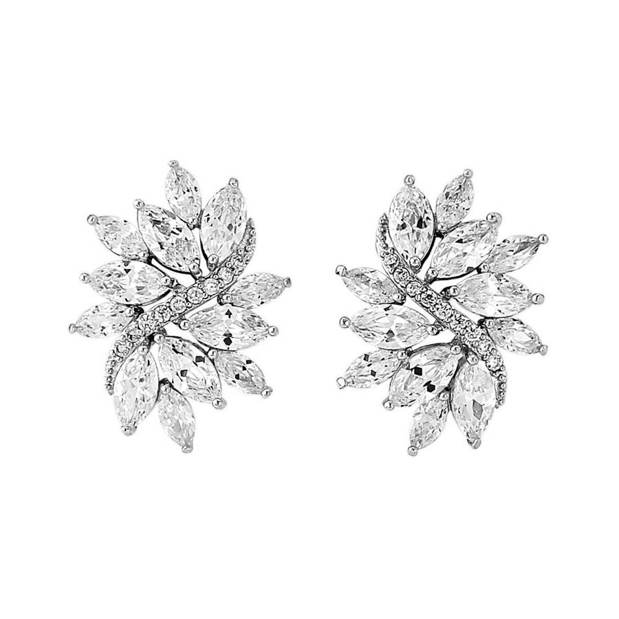 gold crystal statement vintage wedding earrings wedding earrings Silver crystal statement bridal earring