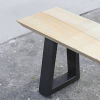 wood and steel dining table and bench set by heather scott ...