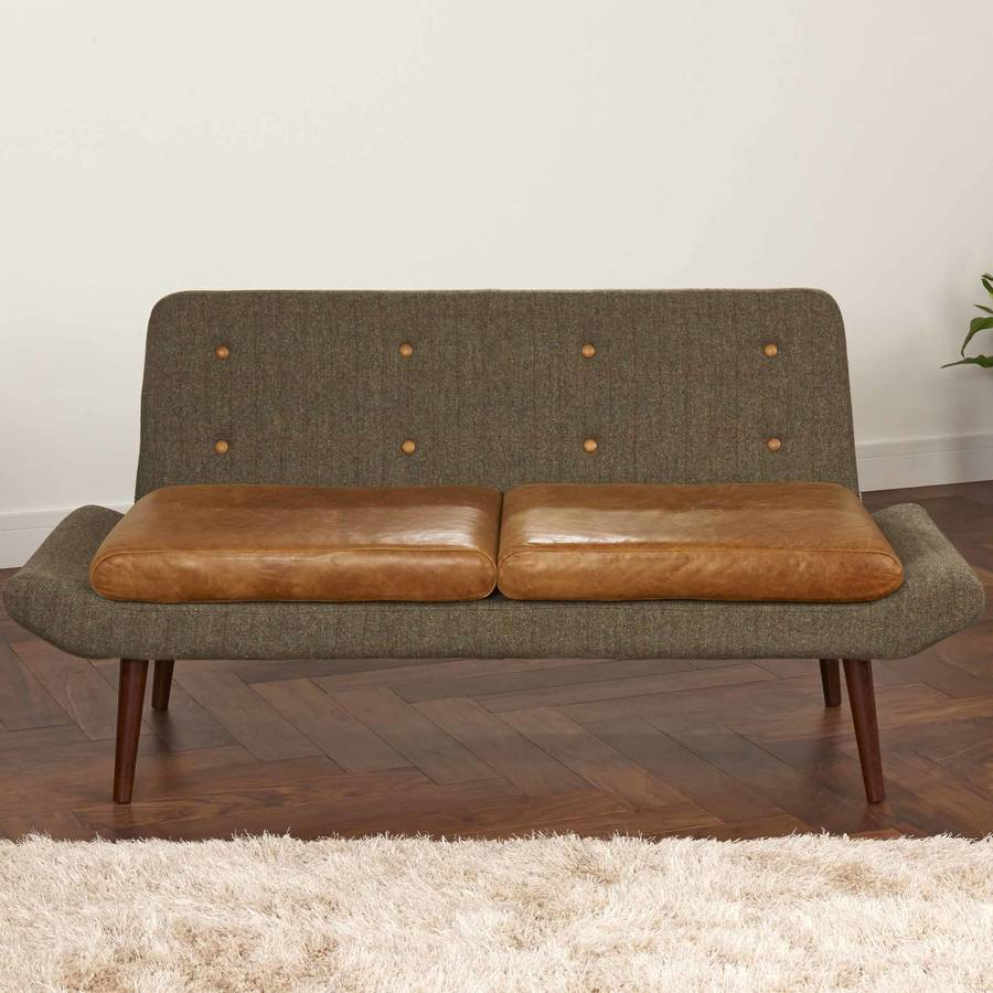 Bettsofa Vintage Vintage Leather Or Harris Tweed Sofa One Or Two Seater