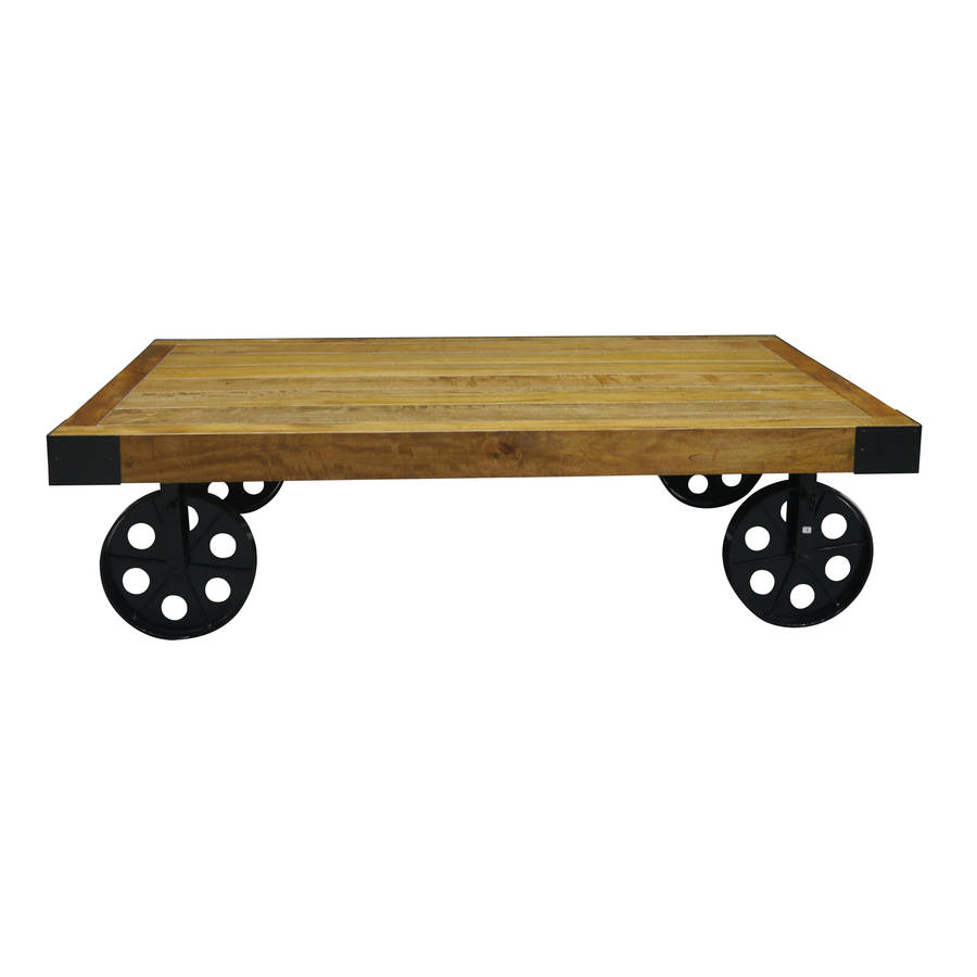Table On Wheels Industrial Vintage Coffee Table With Wheels