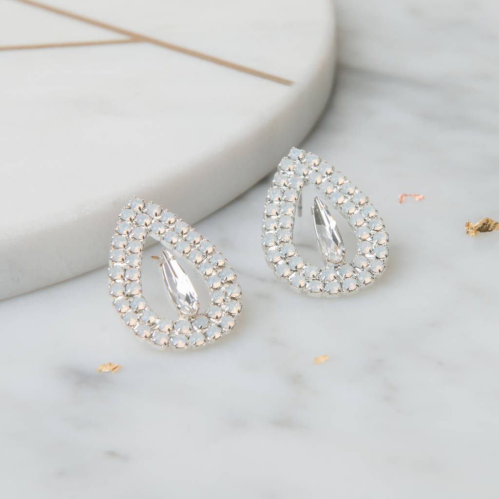 Where To Get Bridal Jewelry Teardrop Bridal Earrings With White Opal Swarovski