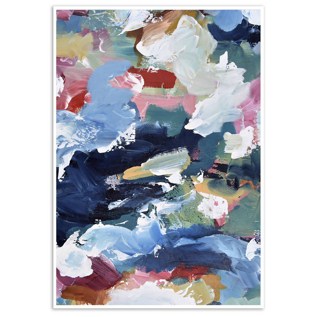 Contemporary Abstract Painting Modern Blue Contemporary Abstract Print From Painting