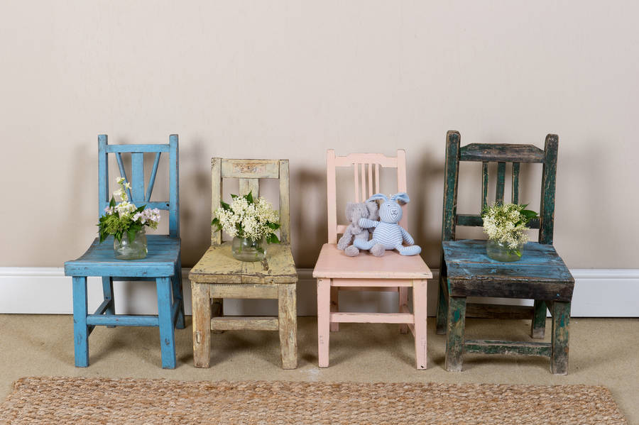 Vintage Childrens39 Wooden Chairs Variety Of Colours By Orchid Notonthehighstreetcom