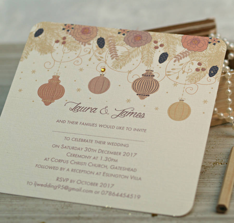 christmas winter wedding invitations by beautiful day