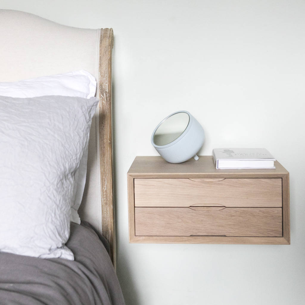 Small Bedside Table Clocks Floating Oak Double Drawer Bedside By Urbansize