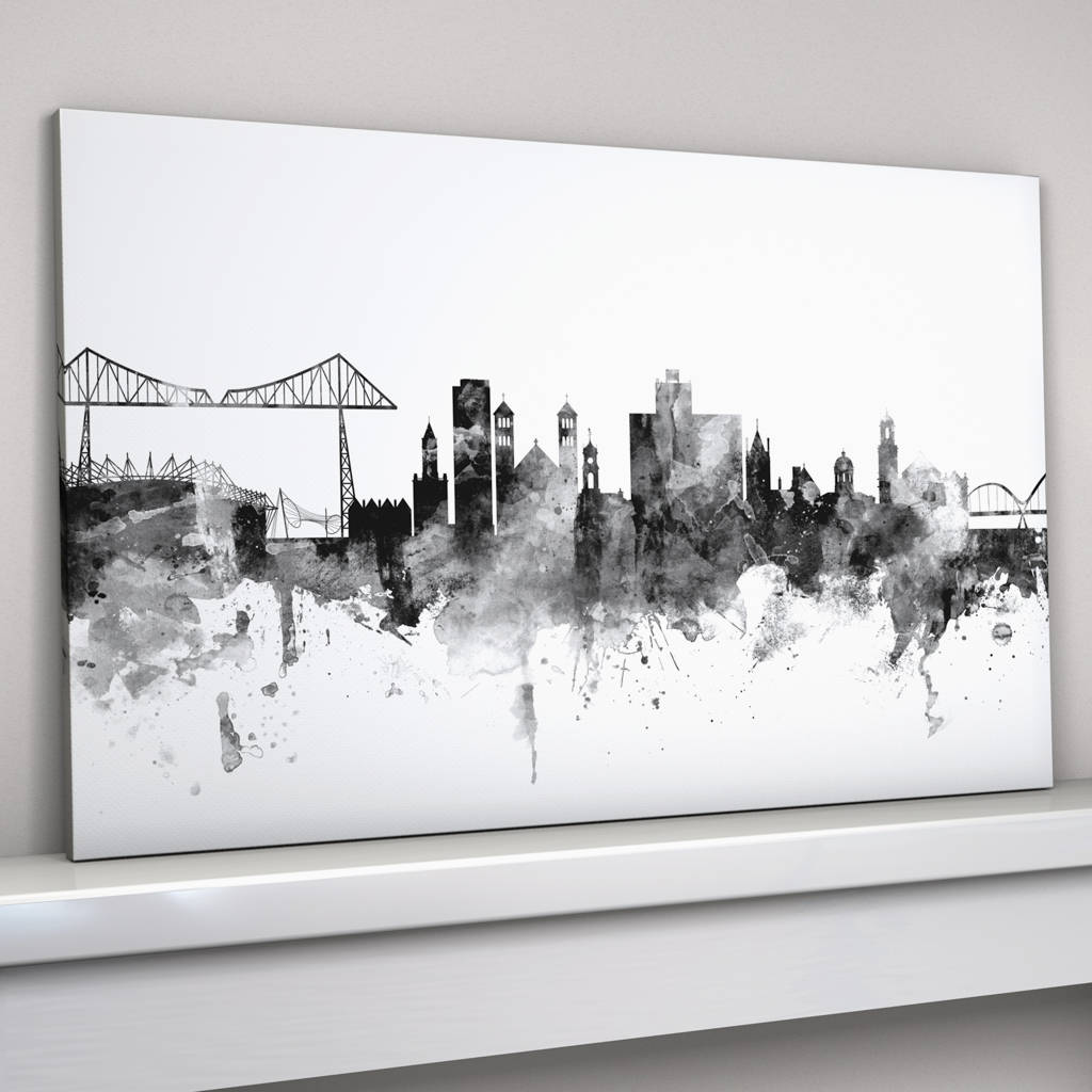 Black And White Canvas Pictures Middlesbrough Skyline Cityscape Black White