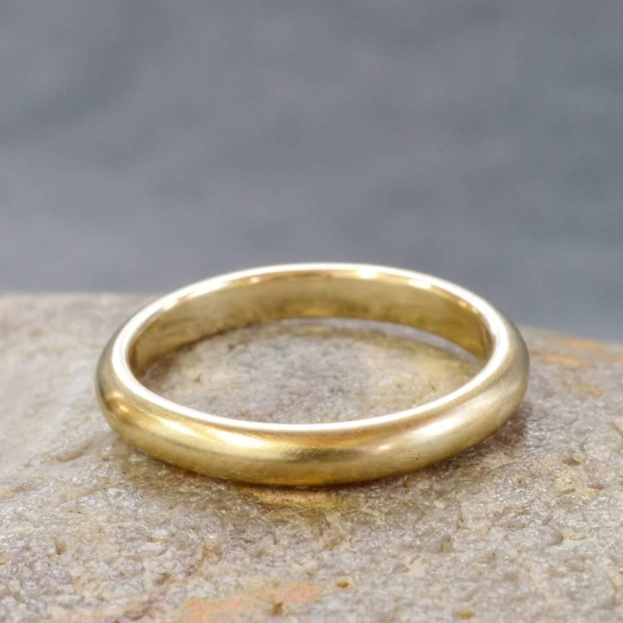 handmade 9ct yellow gold satin finish wedding ring handmade wedding rings Handmade Gold Satin Finish Wedding Ring Size N1 Two