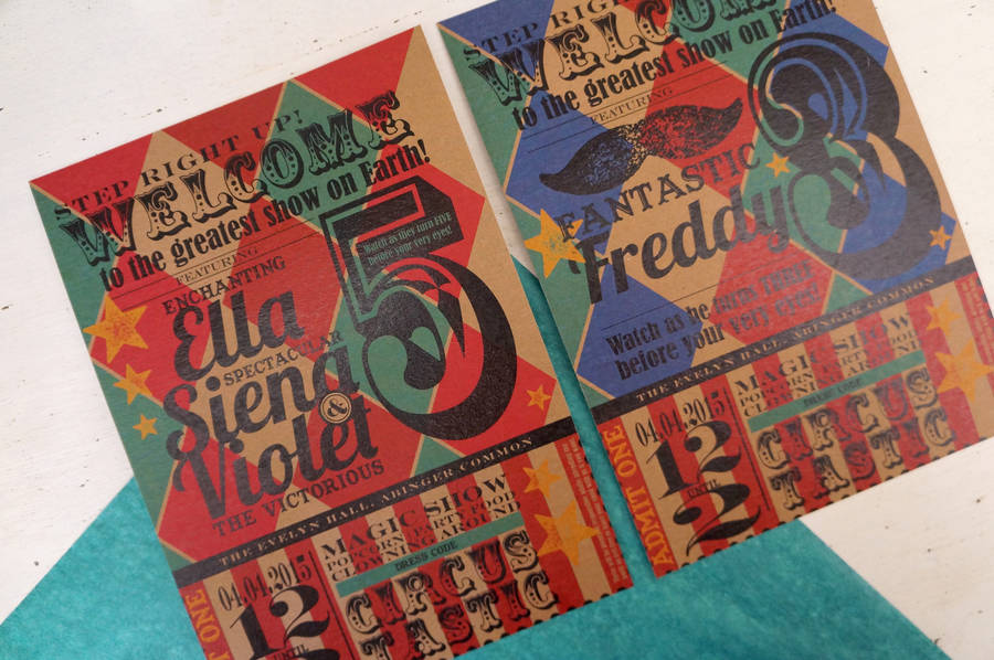 vintage circus party invitation by tigerlily wedding stationery
