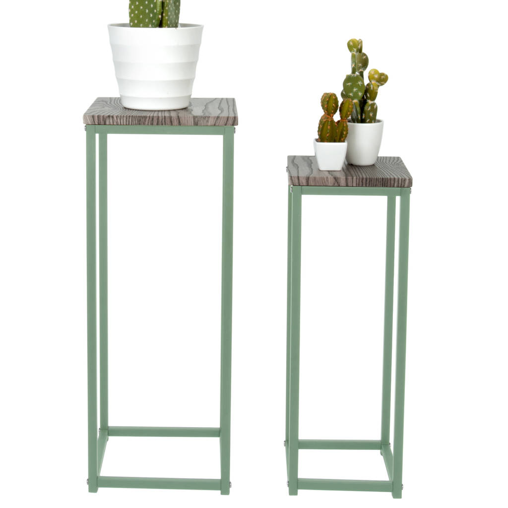 Green Metal Plant Stand Tall Metal And Wood Plant Stands By Marquis And Dawe