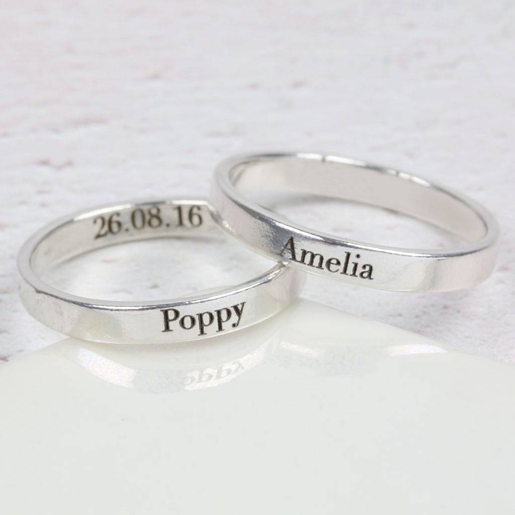 Contemporary Personalised Engraved Silver Name Ring Personalised Engraved Silver Name Ring By Lisa Angel Name Engraved Ring Pakistan Name Engraved Ring Scholar Sin wedding rings Name Engraved Ring