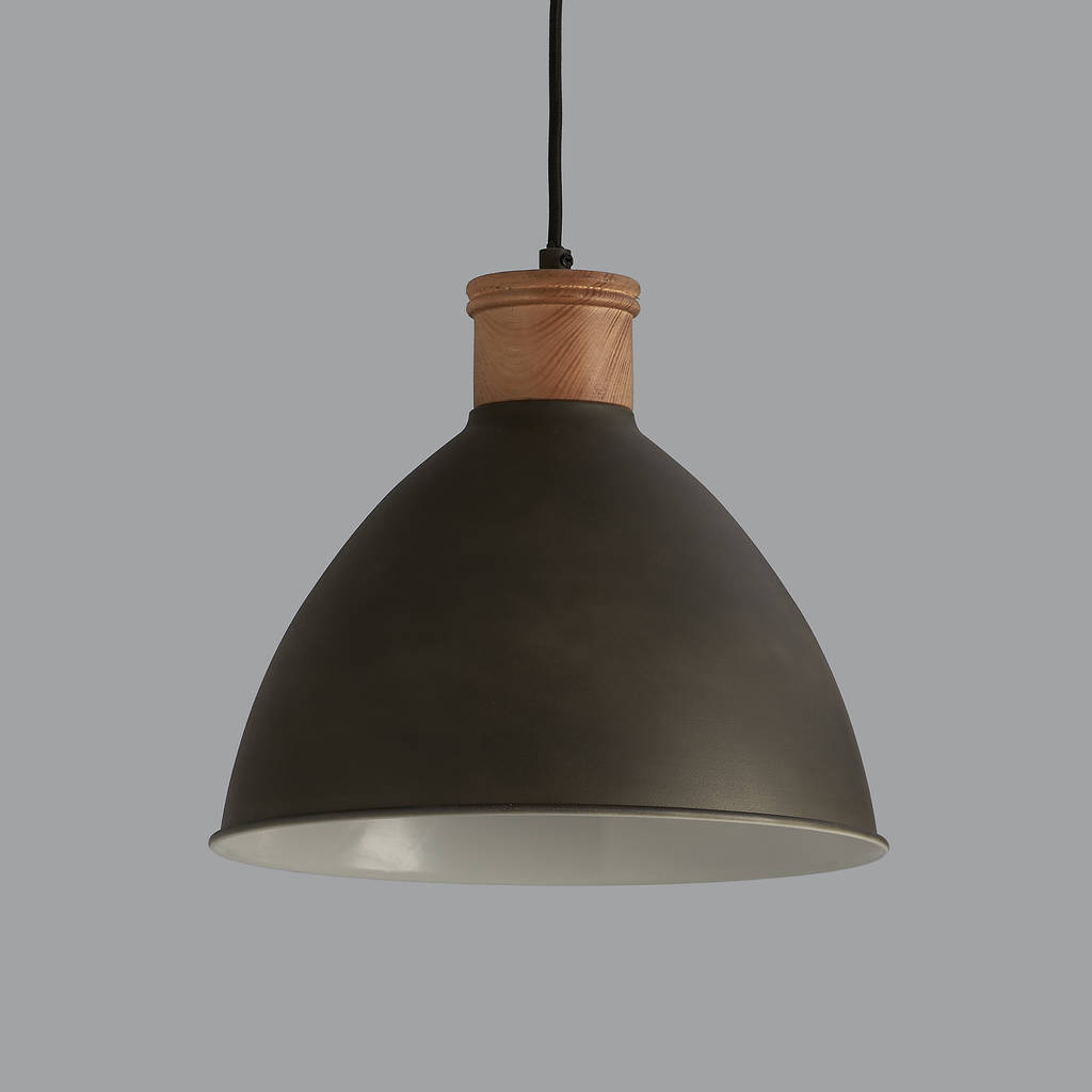 Wooden Lighting Pendants Cement Grey And Wood Pendant Light By Horsfall And Wright