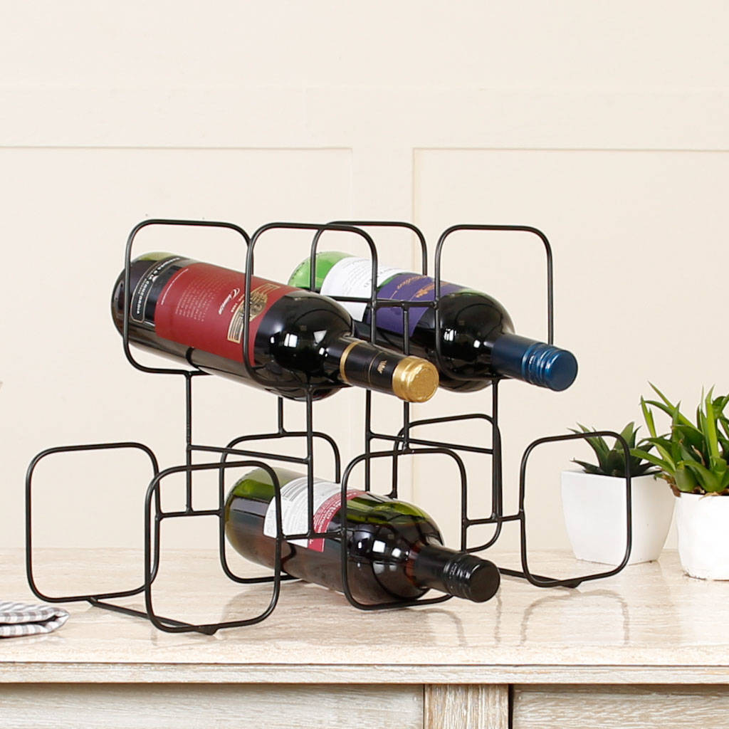 Wine Rack Wire Five Square Geometric Abstract Black Wire Wine Rack By
