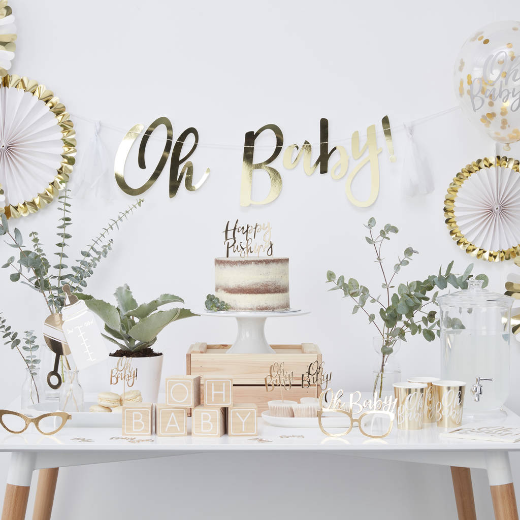 Very Cute Baby Twins Wallpaper Gold Foil Happy Pushing Baby Shower Cake Topper By Ginger