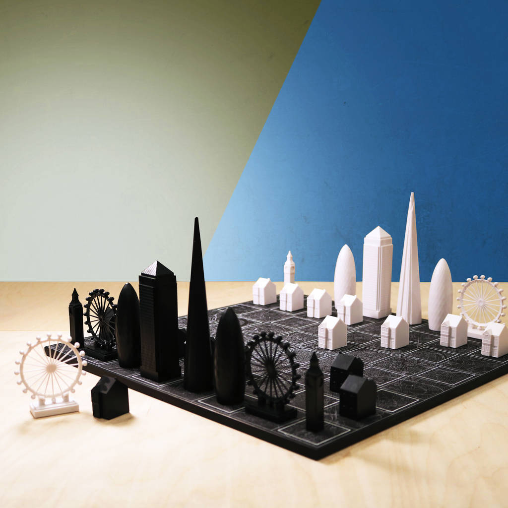 Architecture Gifts For Him Skyline Chess Set With Black London Map Board By Skyline