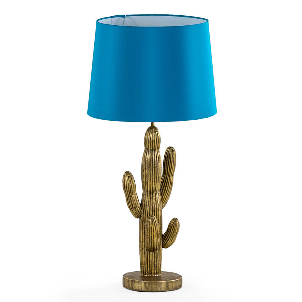 antique gold cactus table lamp with turquoise shade by i