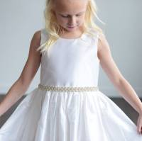ivory silk or white satin flower girl dress by gilly gray ...