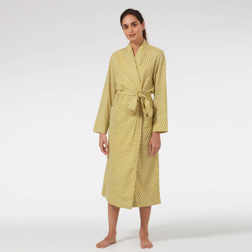 Cotton On Dressing Gown Ladies Cotton Dressing Gown In Yellow Print By Caro London