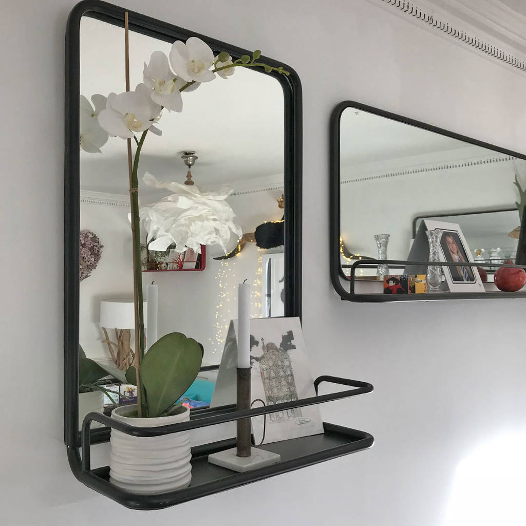 Metal Wall Mirror With Shelf Portrait Carriage Mirror With Shelf Black Or Gold By Doris