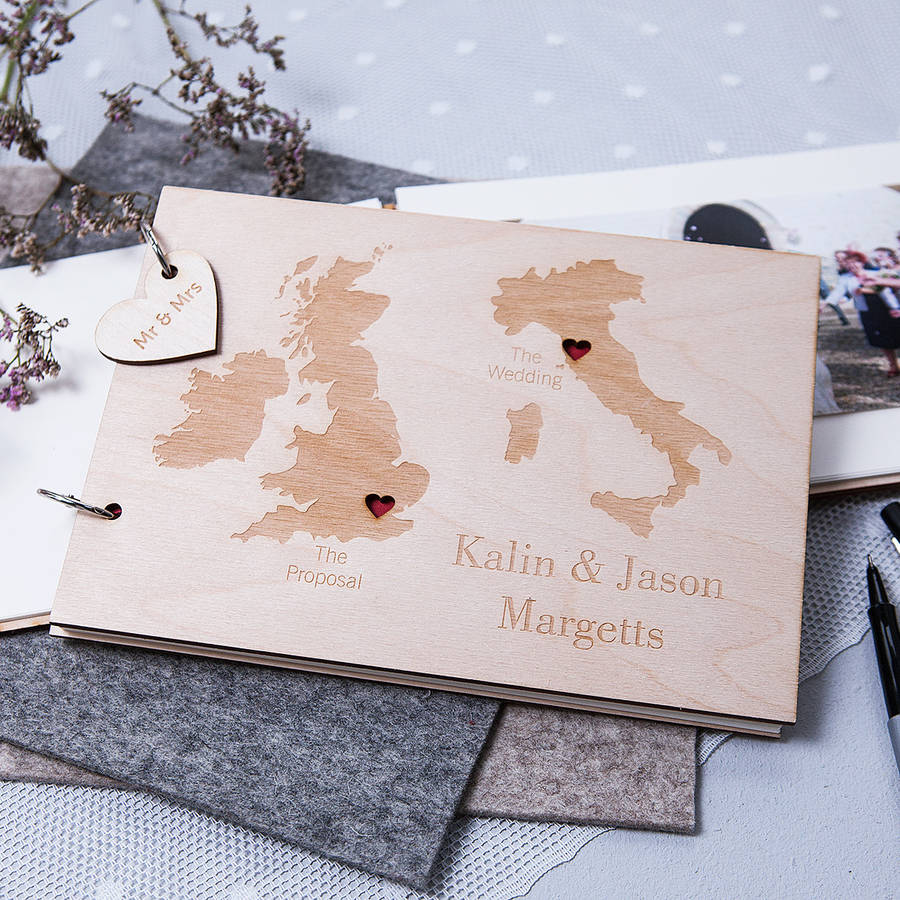 albums guest books wedding photo book Personalised Duo Destination Map Guest Book