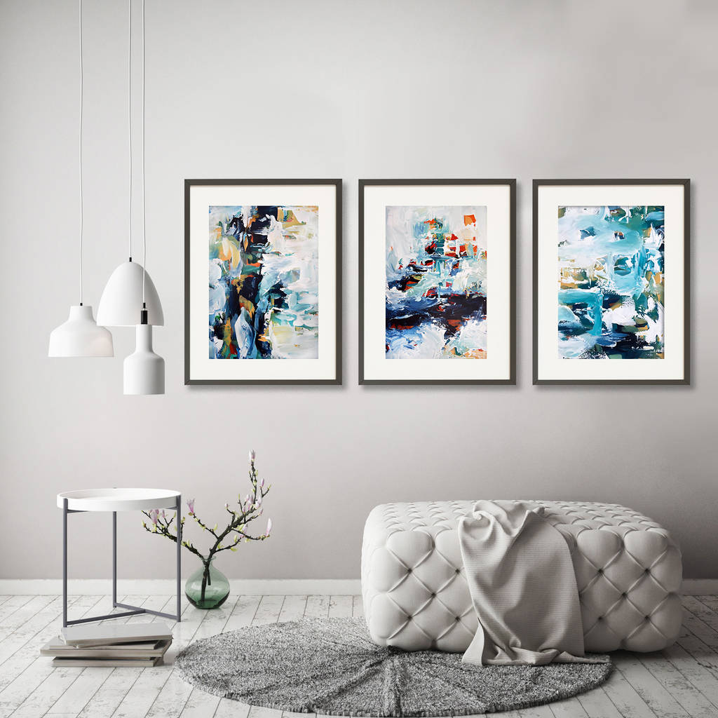 Framed Wall Art Sets Of 3 Framed Art Print Set Of Three Poster Prints By Abstract