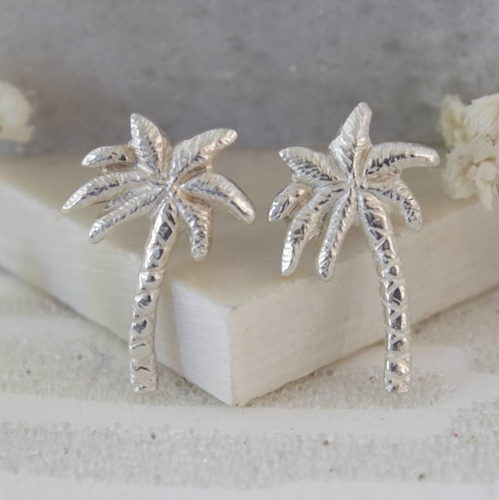 palm tree earrings, silver tropical earrings by caroline