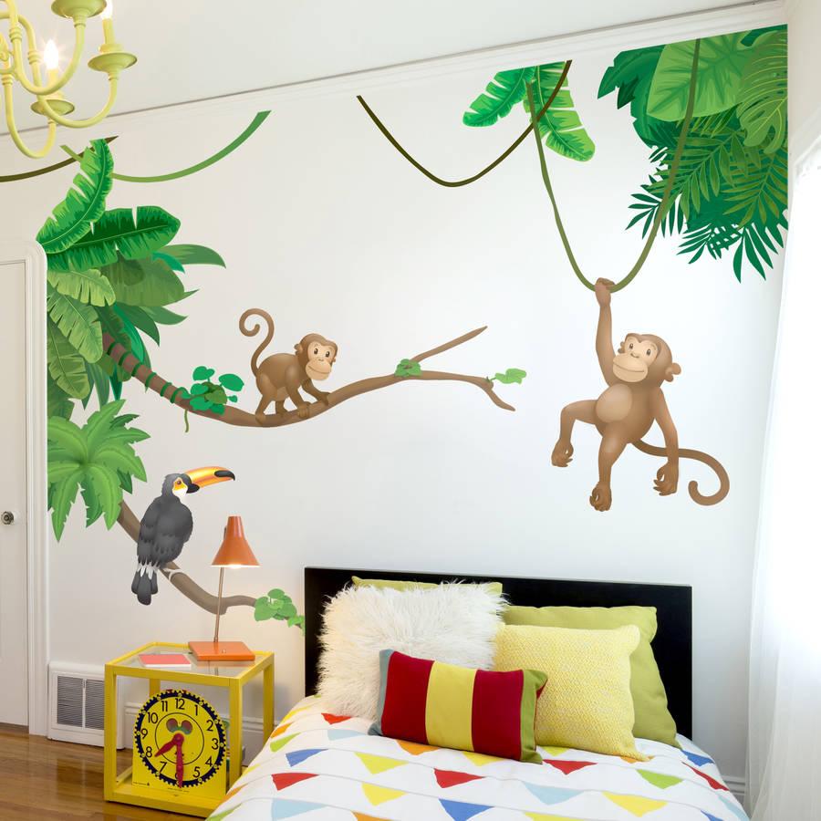 Baby Girl Nursery Wallpaper Uk Jungle Monkey Children S Wall Sticker Set By Oakdene