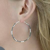 large two tone sterling silver hoop earrings by the london ...