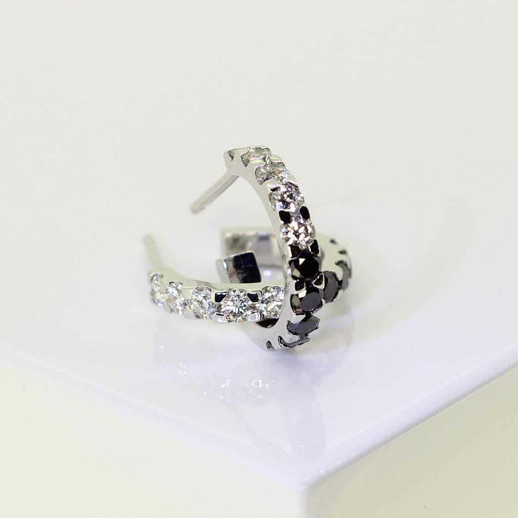 white gold diamond huggie earrings by mitzi jewellery