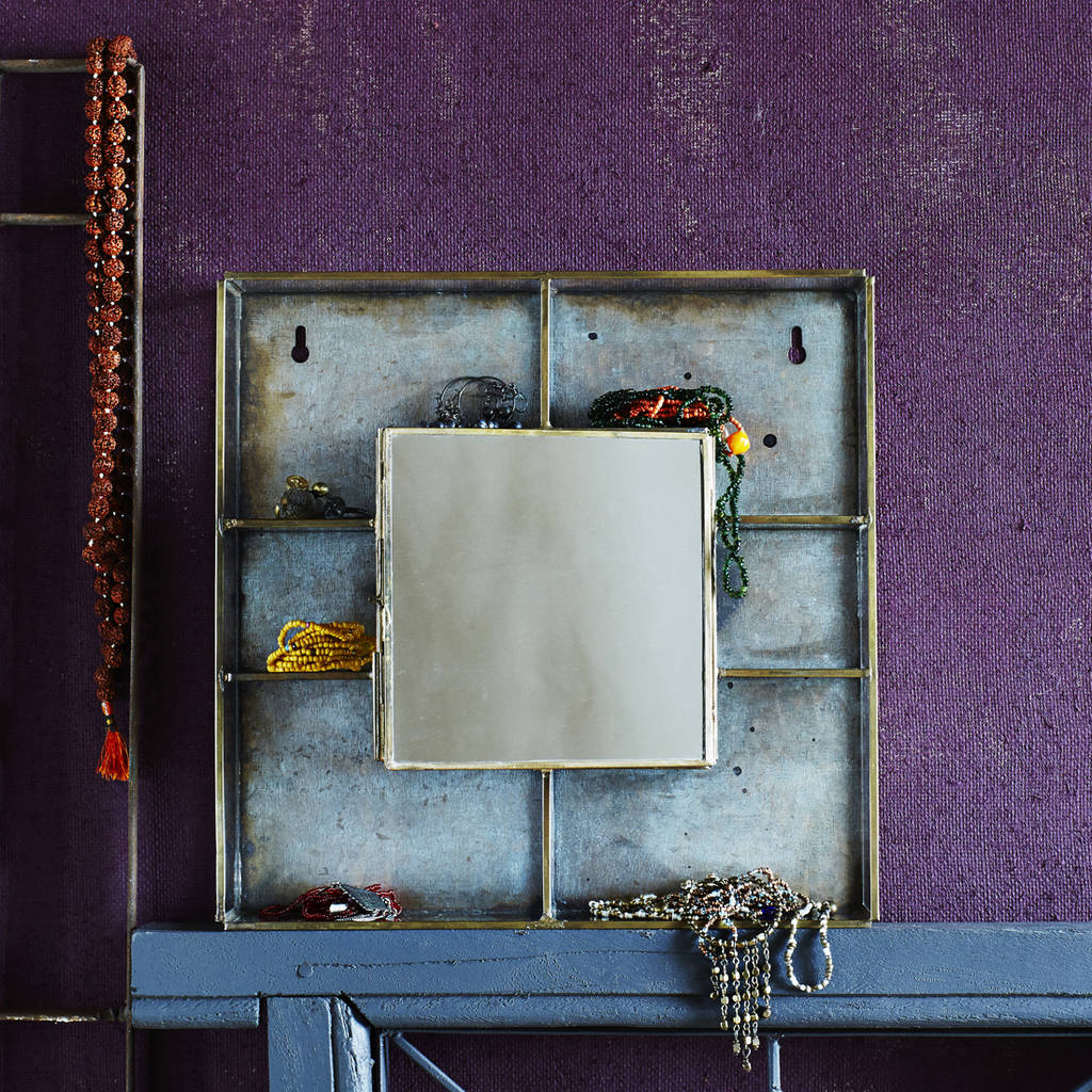 Metal Wall Mirror With Shelf Metal And Glass Wall Box With Mirror And Shelves By Lilac