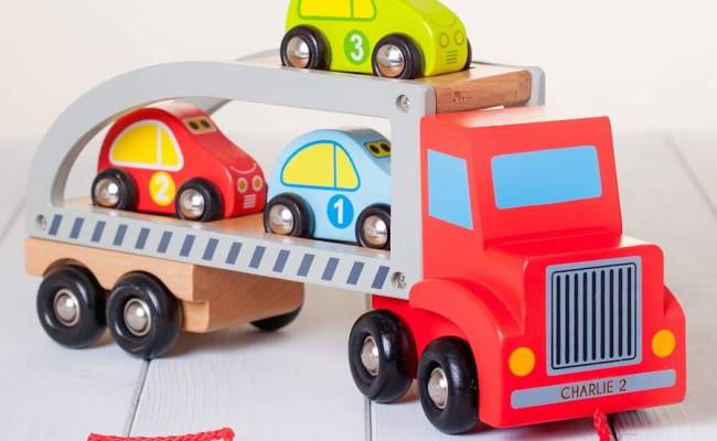 Personalised Red Wooden Pull Along Car Transporter Toy By