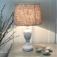 antique white distressed table lamp linen shade by cowshed ...