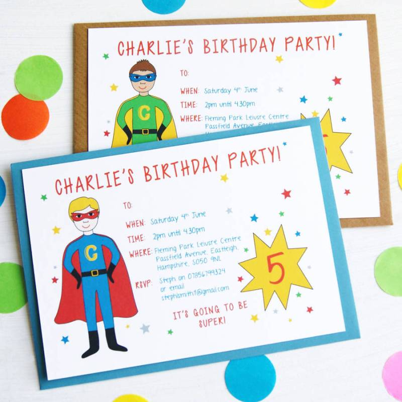 Large Of Superhero Birthday Invitations