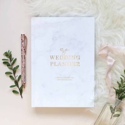 marble and gold foil wedding planner by blush and gold ...