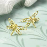 gold plated sterling silver dragonfly stud earrings by ...