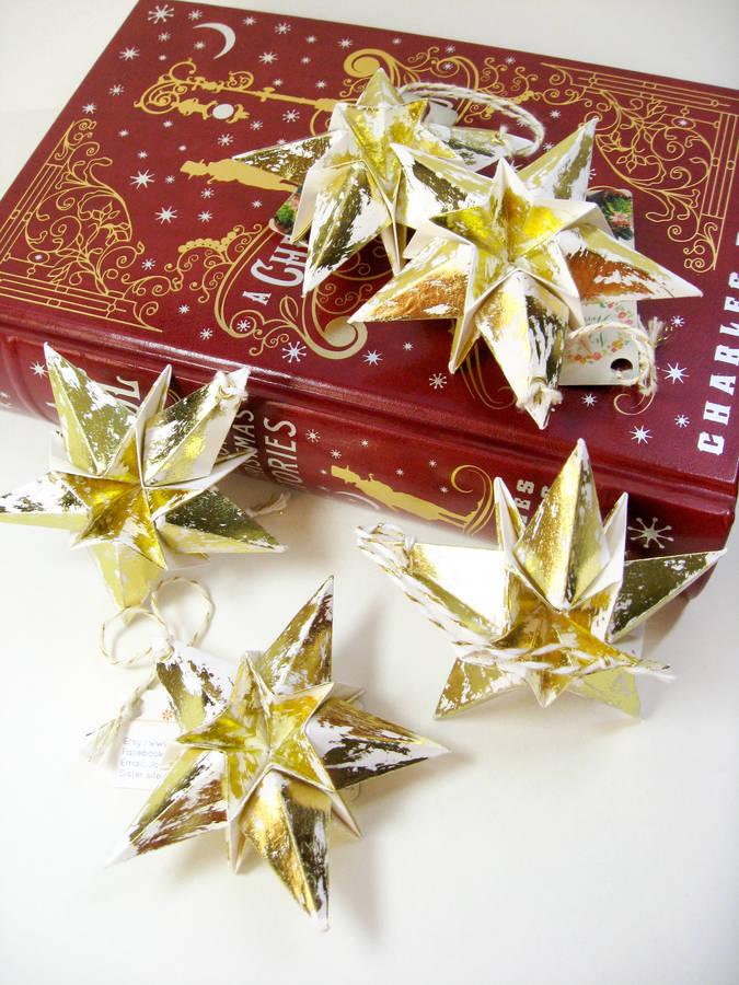 metallic gold christmas star paper hanging decorations by joyful - christmas star decorations