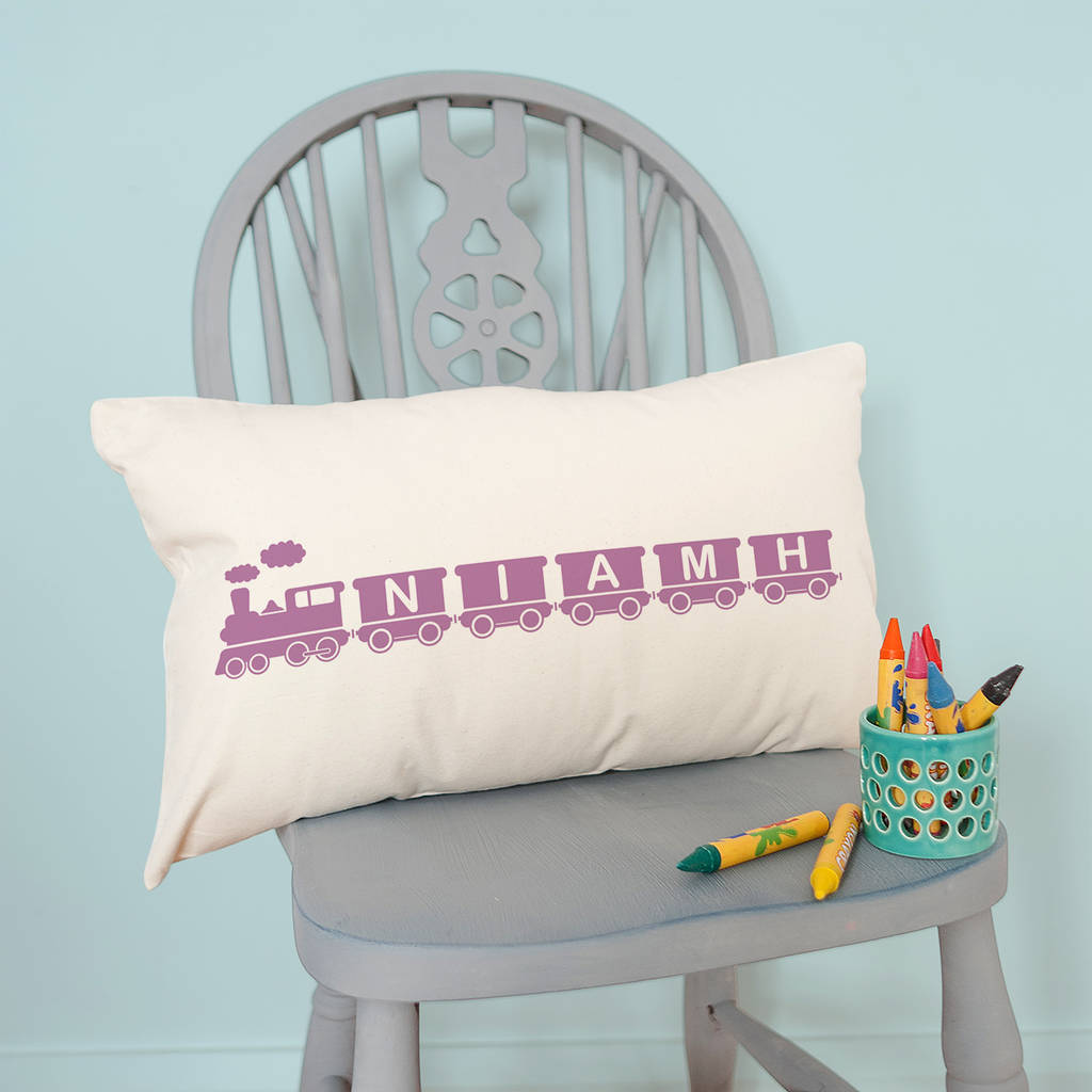 Personalised 39name Train39 Children39s Cushion By The Little