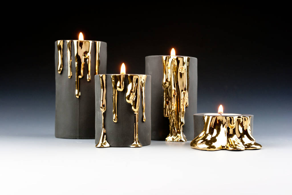 Black Candle Holders With Dripping Gold By Kina Ceramics