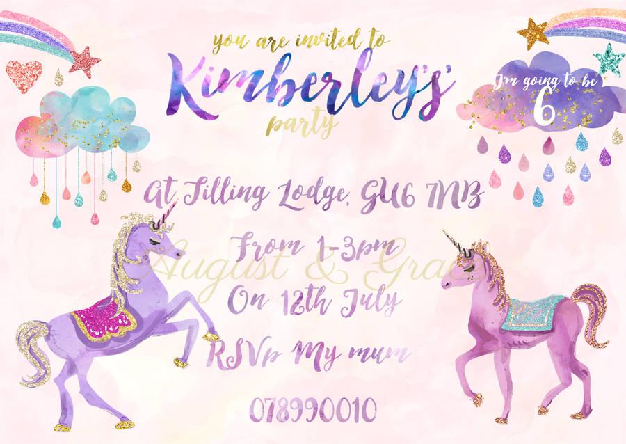 unicorn girl\u0027s birthday party invites by lily summery - girl birthday party invitations