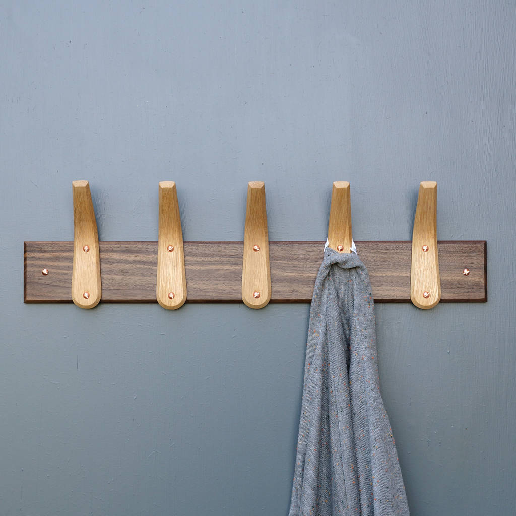 Wooden Hooks Curved Wooden Coat Hooks And Backboard By Layertree