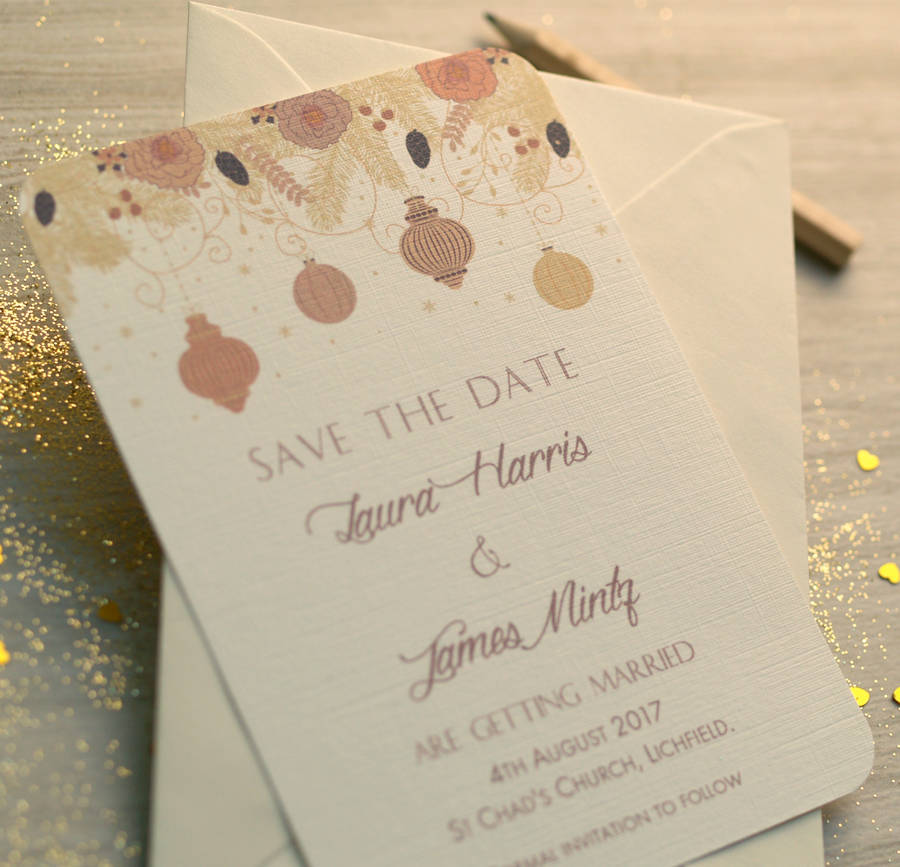 christmas winter wedding save the date cards by beautiful day