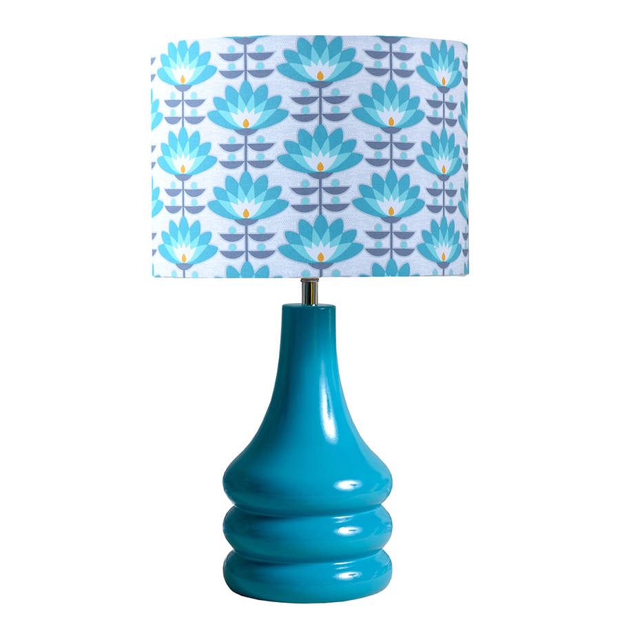 teal flower petals ceramic table lamp by hunkydory home