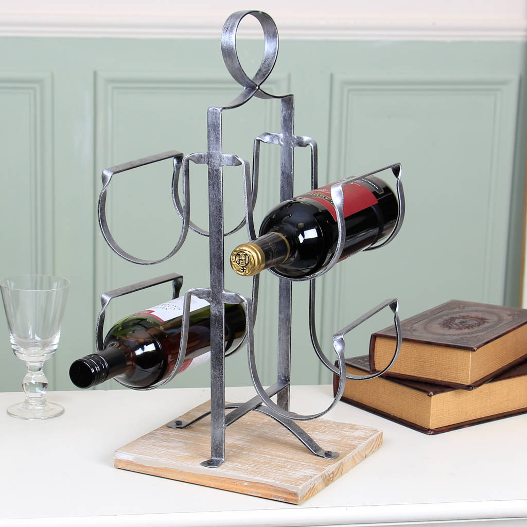 Antique Wooden Wine Rack Antique Silver Wine Rack With Wooden Base By Dibor