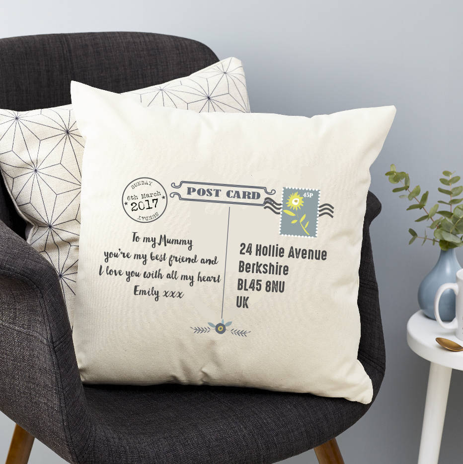 Mother39s Day Post Card Personalised Cushion By Tillie Mint