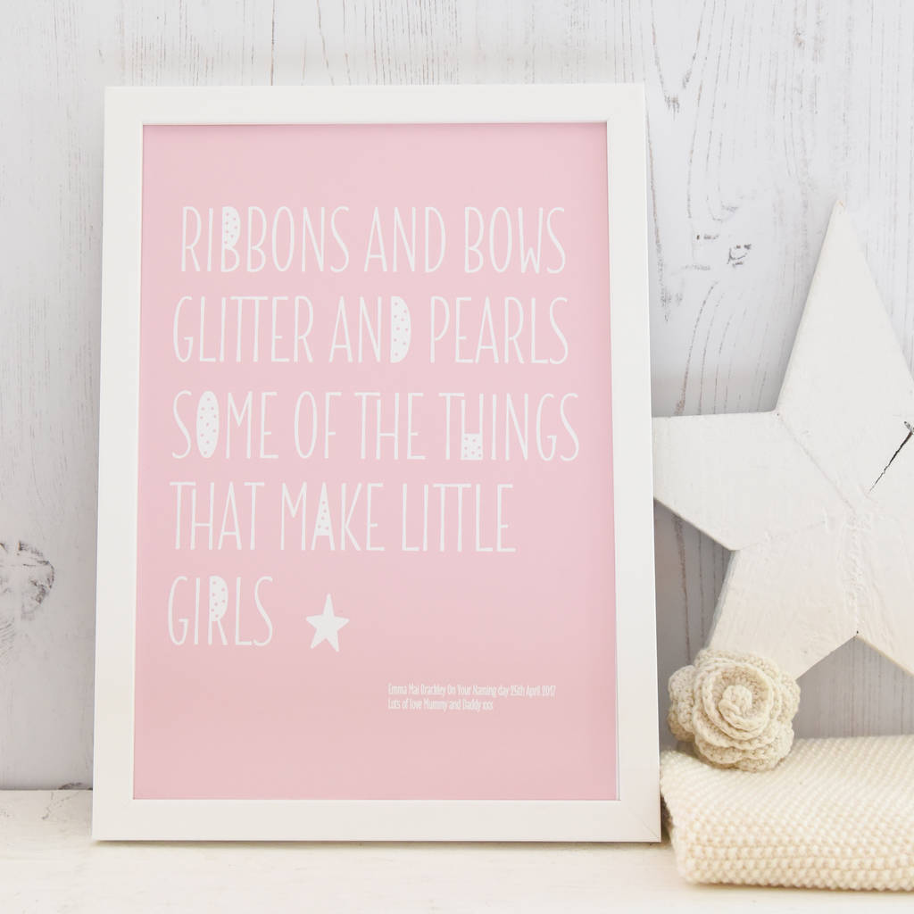 Nursery Prints Girl Personalised New Baby Girl Rhyme A4 Nursery Print
