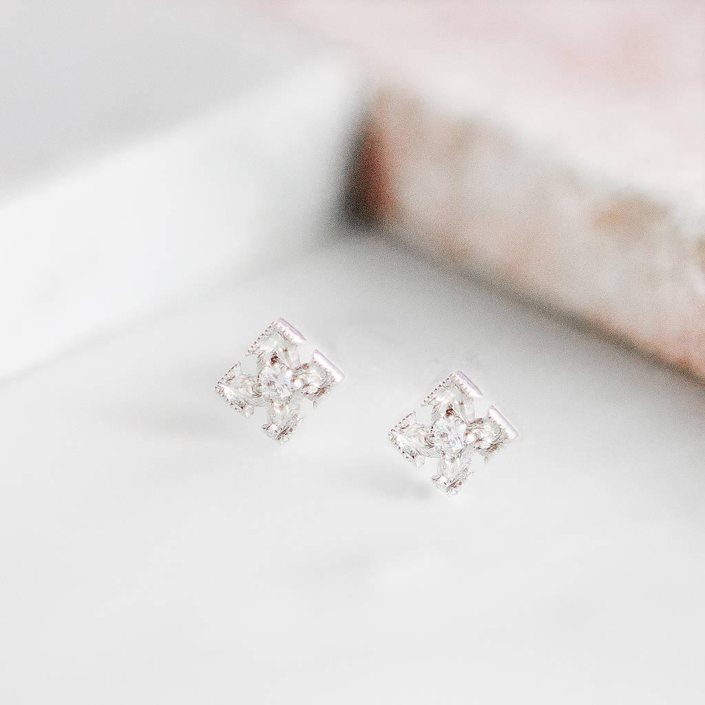 diamond cross stud earrings by audrey claude jewellery