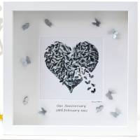 silver wedding anniversary wall art/ butterfly art by