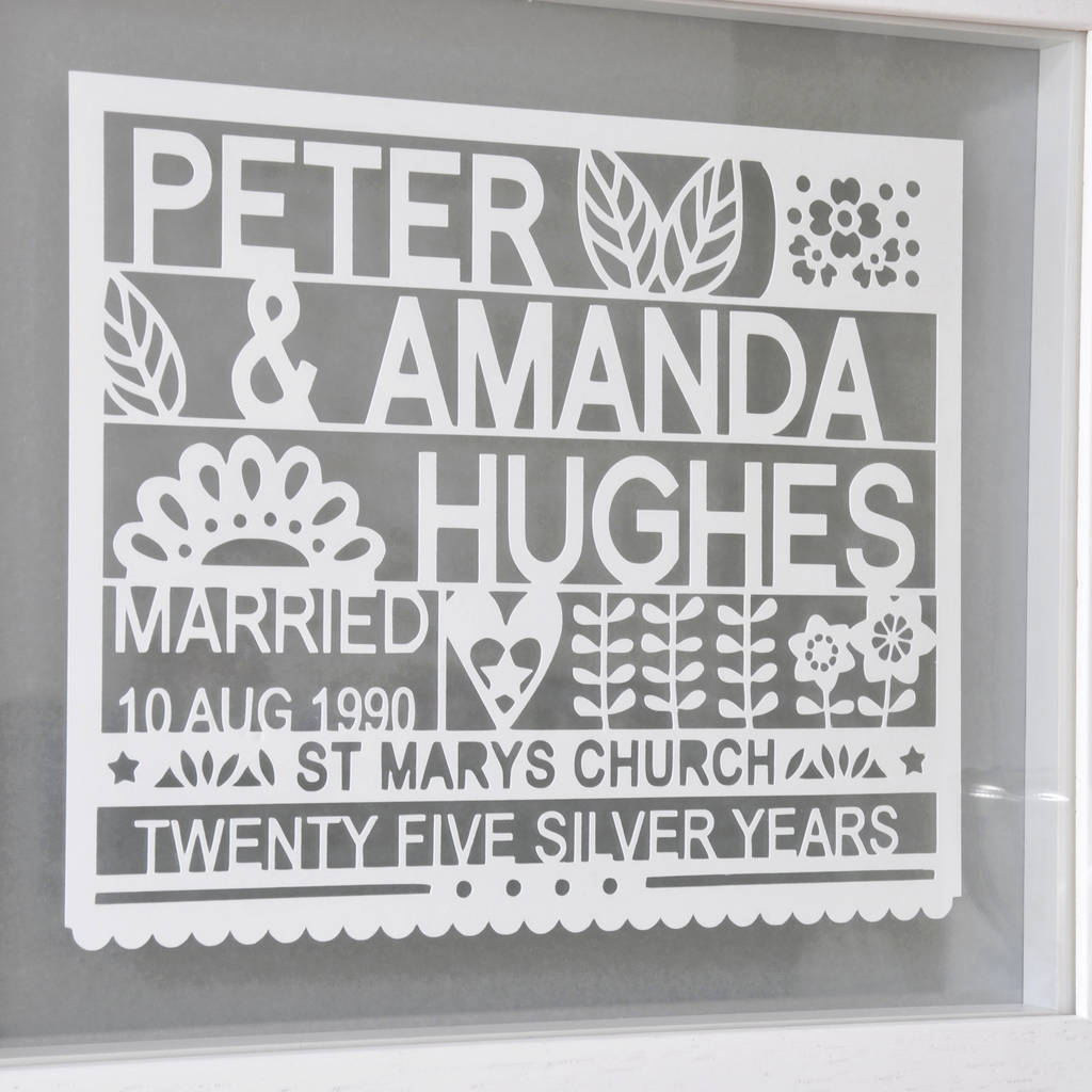 personalised 25th silver wedding anniversary gift 25th wedding anniversary gifts Personalised 25th Silver Wedding Anniversary Gift