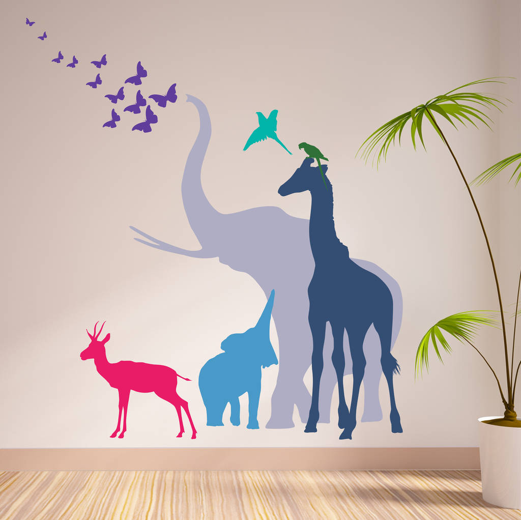 seven safari animal wall stickers new sizes by the bright