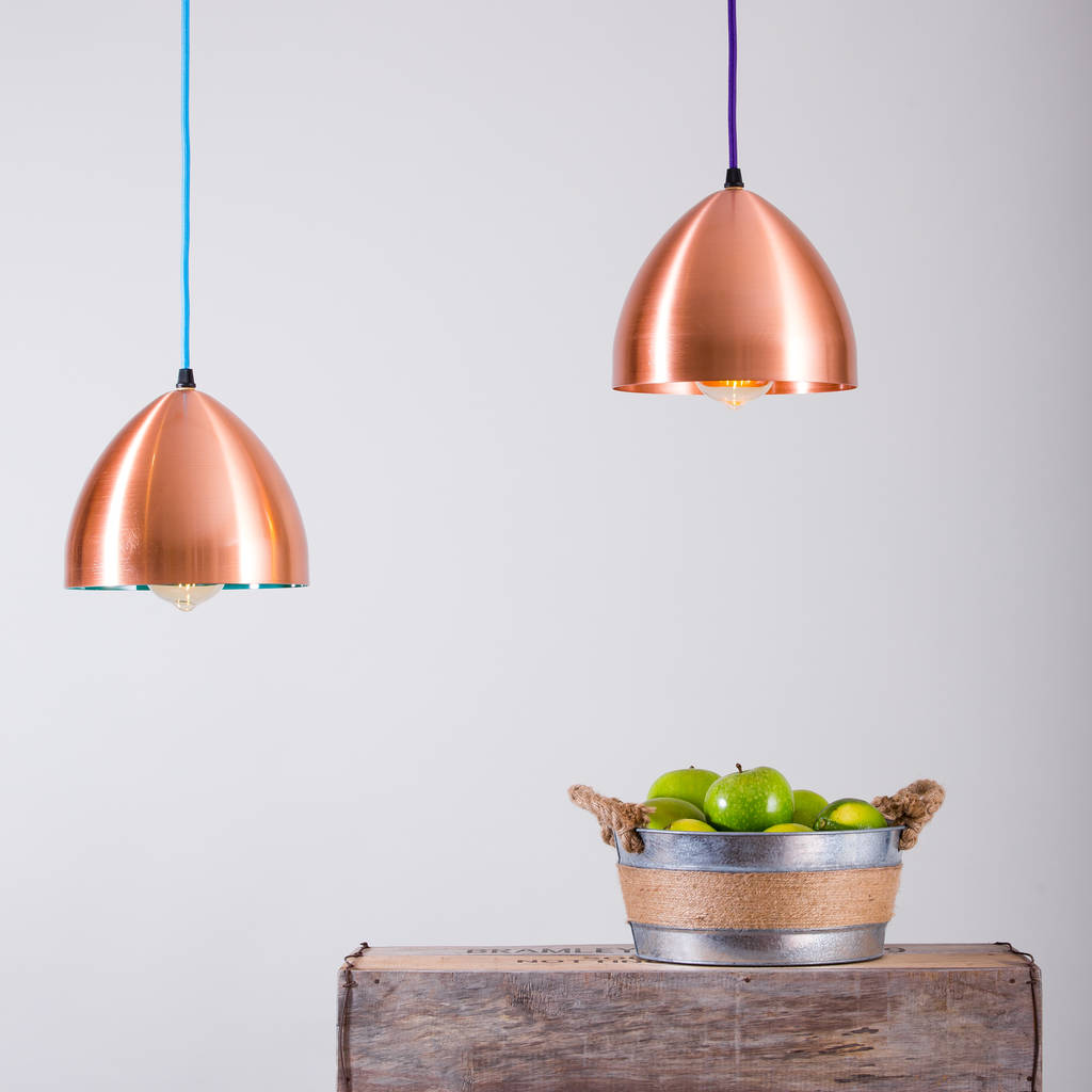 Copper Lighting Pendant Cooper Hand Spun Copper Head Lamp Pendant Light By Glow