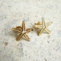 gold starfish stud earrings by lime tree design ...